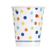 8 Happy Birthday Confetti Theme Paper Party Cups